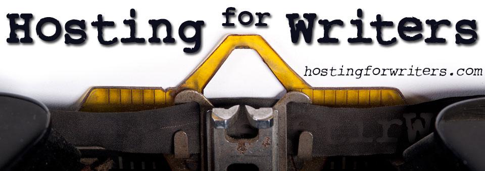 Banner showing typewriter head and Hostingfowriters - site banner/logo